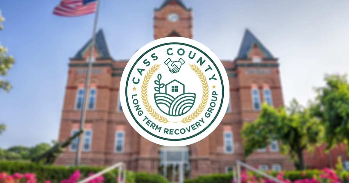 Cass County Court House with Long Term Recovery Group Logo Imposed